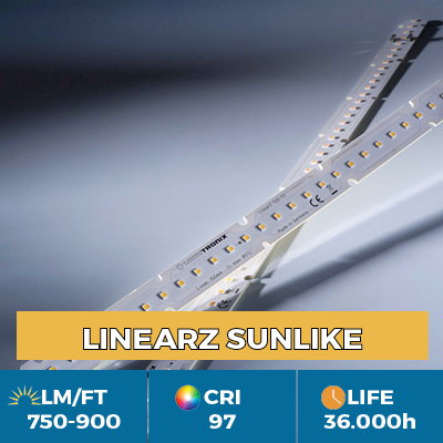 Professional LinearZ Modules with Toshiba-SSC SunLike TRI-R LED CRI97 +, Plug & Play Zhaga, flux up to 900 lm / ft
