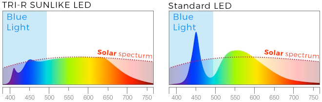 Blue light: difference between SunLike Tri-R LED and Standard