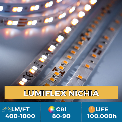 Professional Nichia LED Strips, up to 1000 lm / ft, 5 year warranty