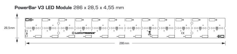 PowerBar UVA LED Module, 12.1W UVA output, 31W power intput, 12 Nichia LEDS